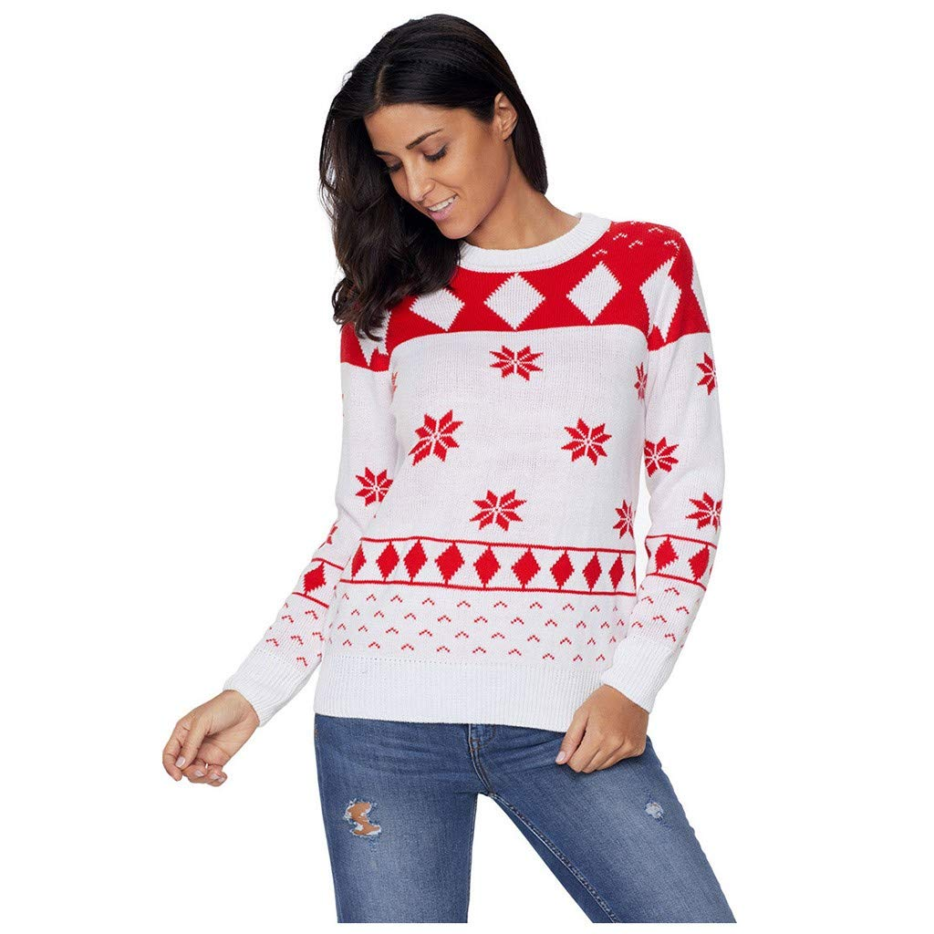Women's Christmas Ugly Sweater Reindeer Snowflake Knitted Sweater Long Sleeve Pullover Tops White by AmyogKog