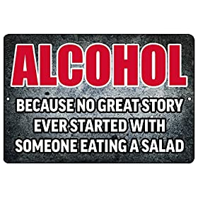 Rogue River Tactical Funny Beer Alcohol Sign Metal Tin Sign Home Bar Kitchen No Great Story Ever Started with Salad
