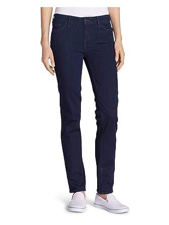 ded9c2c8314 Eddie Bauer Women's Elysian Slim Straight Jeans - Slightly Curvy, Deep  Rinse Pet