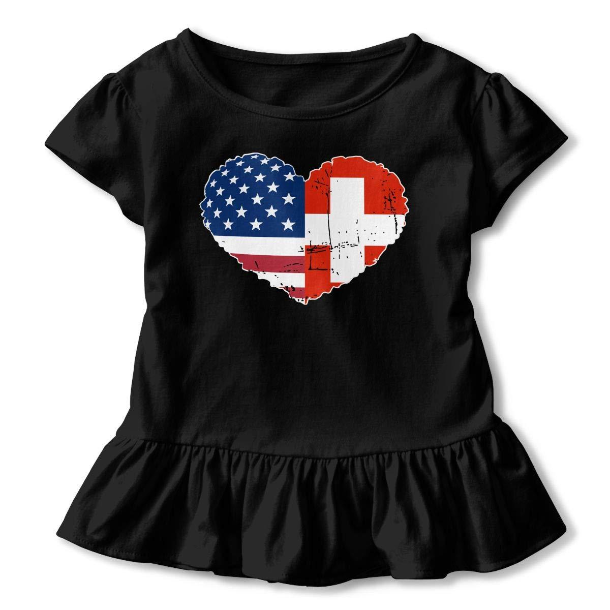 Kcloer24 Kids Switzerland USA Flag Heart Cute Short Sleeve Ruffles T-Shirt Summer Clothes for 2-6 Years Old