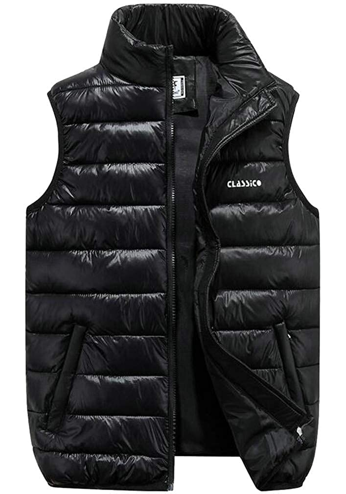 Lutratocro Men Stand Collar Puffed Zip Pocket Casual Quilted Jacket Down Vest