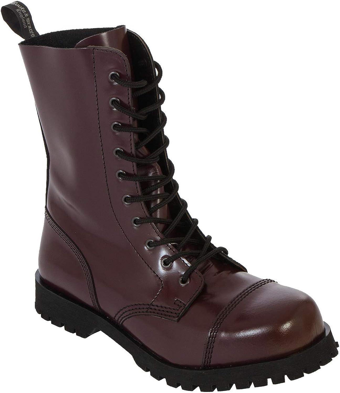 Boots /& Braces Bottes rangers avec lacets 10 /œillets Rouge cerise