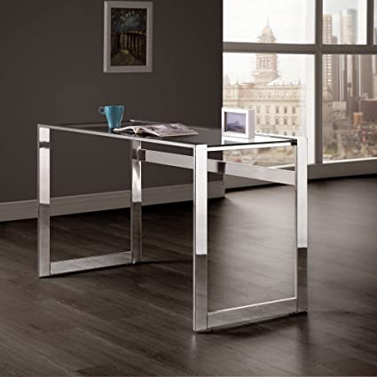 amazon com coaster 800746 co furniture computer desk with glass top rh amazon com glass and chrome computer table black glass and chrome computer desk
