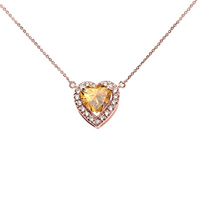 Amazon 14k rose gold diamond and november birthstone citrine 14k rose gold diamond and november birthstone citrine heart solitaire necklace 16quot aloadofball Images