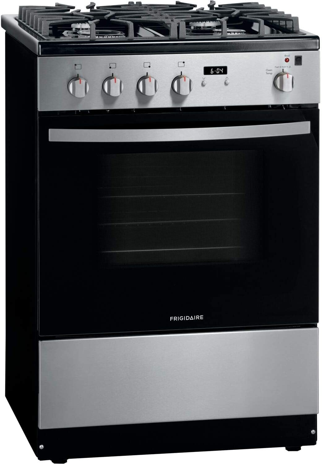 """Frigidaire FFGH2422US 24"""" Gas Front Control Freestanding Range, Continuous Grates - Stainless"""