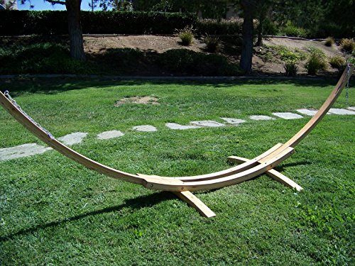 Petra Leisure 14 Ft. Natural Wooden Arc Hammock Stand + Quilted Spring Color, Double Padded Hammock Bed. 2 Person Bed. 450 LB Capacity