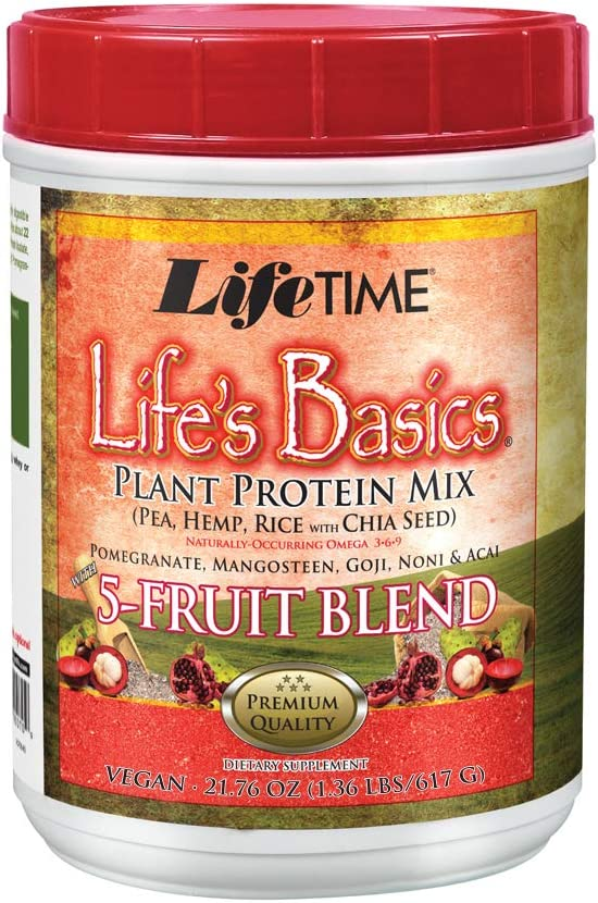 Lifetime Life's Basics Plant Protein Power, 5 Fruit Blend, 21.6-Ounce: Health & Personal Care