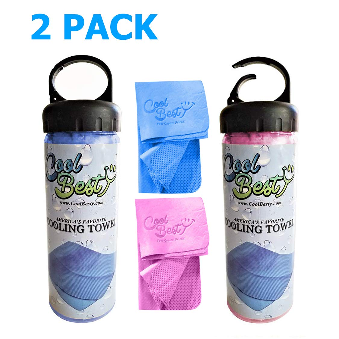 Cool Besty 2 Pack-Blue/Pink - Cooling Towel-Workout/Tennis/Golf/Biking-Best for Any Sport Activities&Athletes Cold Towel-Chilly Pad Instant Cooling Snap Towel-Perfect for Fitness&Gym