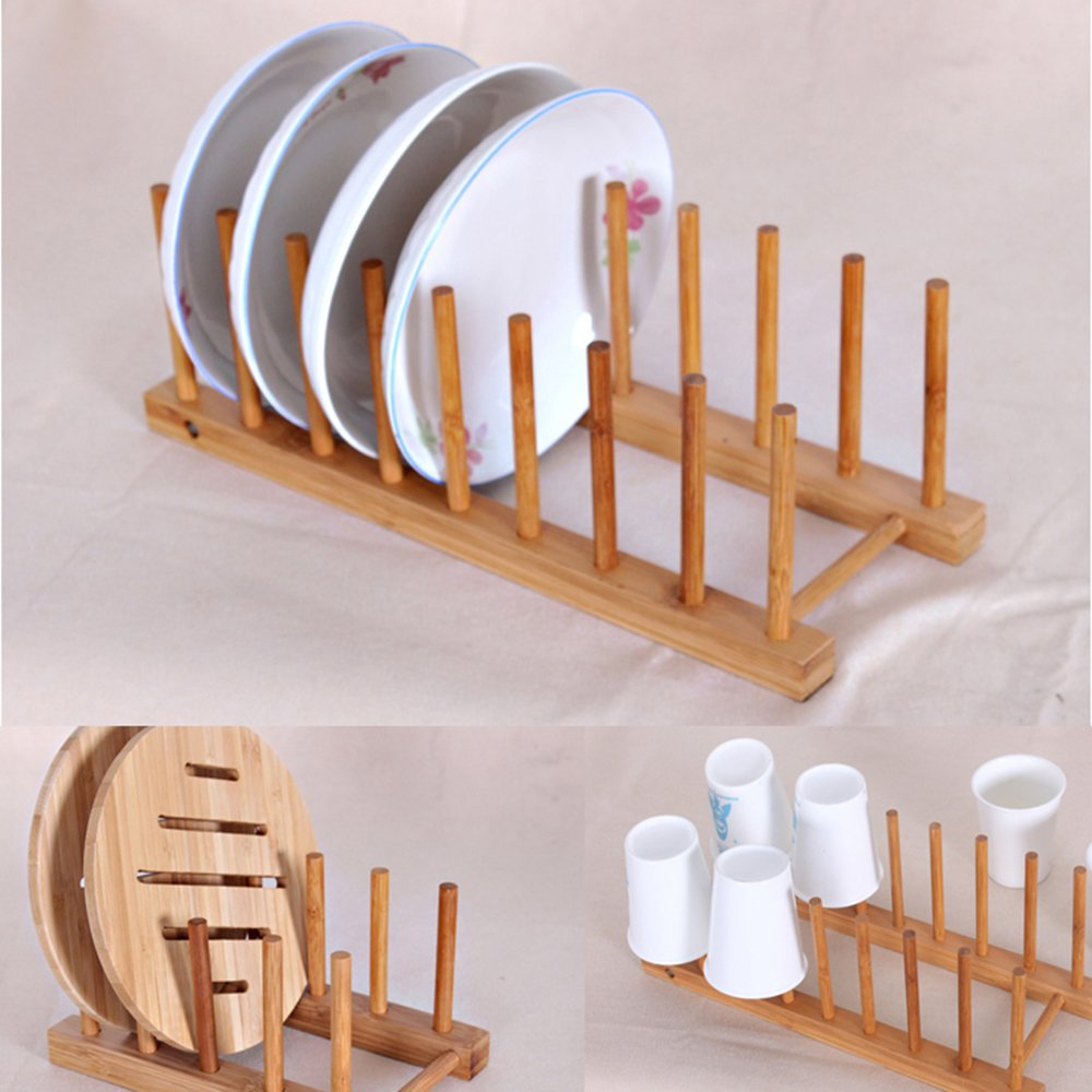 WINIT Bamboo Dish Drying Holder Rack, Vertical Plate Dishes Drainboard Drying Drainer Storage Holder Stand Kitchen Cabinet Organizer for Dish Plate Bowl Cup Pot Lid Book (Large/8) by WINIT (Image #2)