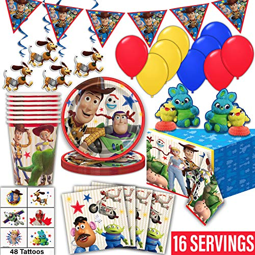 Toy Story 4 Party Supplies for 16- Plates, Cups, Napkin, Tablecloth, Banner, Hanging Swirls, Centerpieces, Tattoos, Balloons - Disposable Birthday Tableware, Decorations, Favors -Official Disney/Pixar -