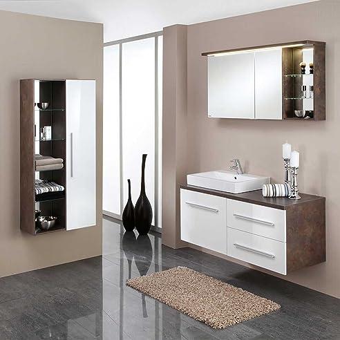 Badezimmermöbel Set Mit Waschtischkonsole Weiß Rost Optik (3 Teilig)  Pharao24