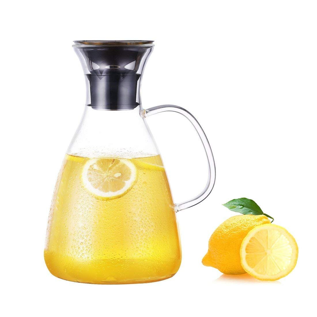 JIAQI 1500ML Glass Drip-free Carafe with Stainless Steel Flip-top Lid, Hot and Cold Glass Water Pitcher, Tea/Coffee Maker & Cafe, Iced Tea, Beverage Pitcher As Well As for Decanting and Serving Wine