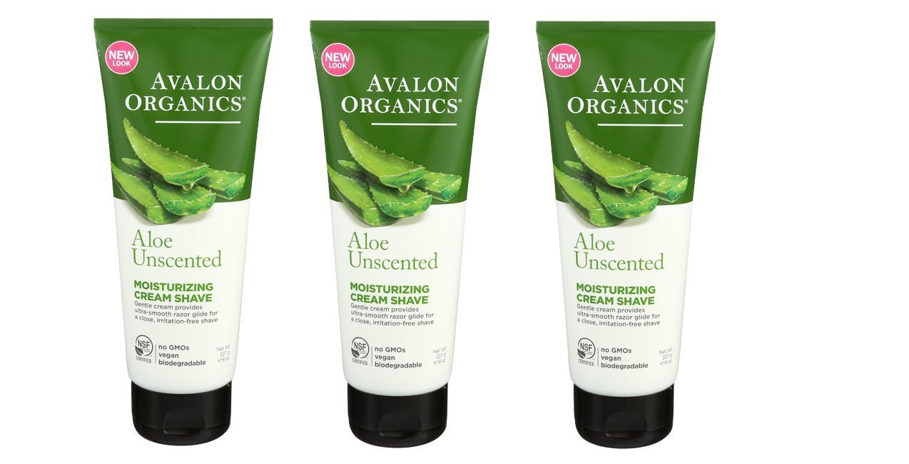 Avalon Organics Moisturizing Cream Shave, Aloe-Unscented, 8 Ounce (Pack of 3)