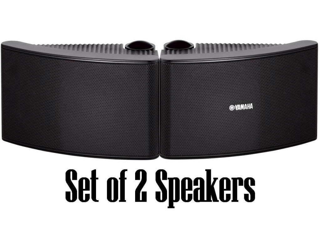 Yamaha All Weather Outdoor / Indoor Wall Mountable Natural Sound 180 watt 2 way Acoustic Suspension Speakers - Set of 2 - Black - Compatible with All Audio / Video Home Theater Sound Systems, Components, CD Players, or Receivers - Also Designed for Book S by YAMAHA