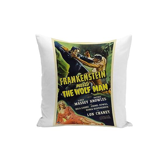 Fabulous Funda de Cojín Inglés Antiguo Cartel de Película de Frankenstein y el Hombre Lobo Retro Cine Cine 40x40cm
