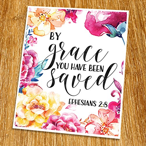 Ephesians 2:8 By grace you have been saved Print (Unframed), Wedding bible verse, Scripture Print, Love quote, Christian Wall Art, Church decor, 8x10