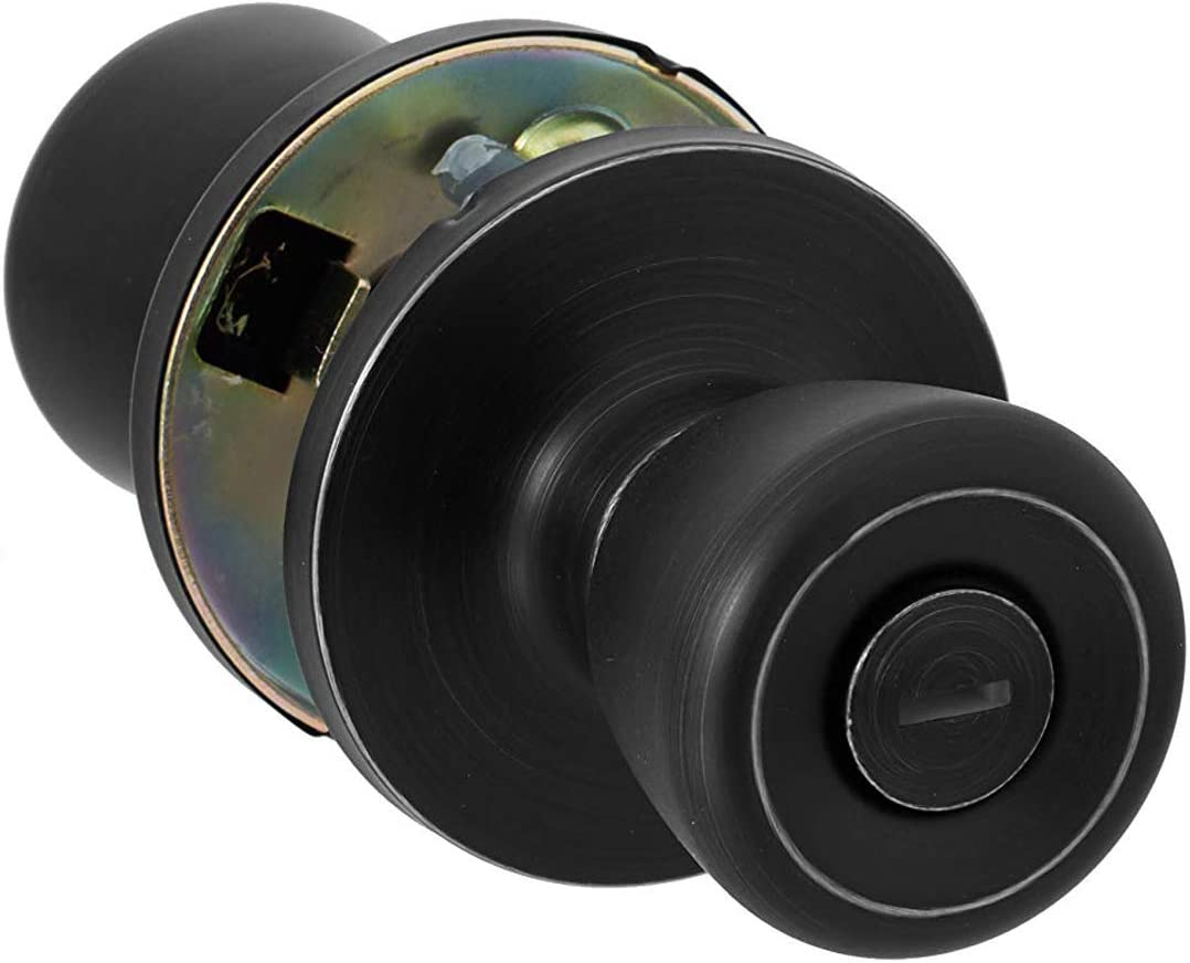 AmazonBasics AB-DH538-MBBedroom/Bathroom Door Knob With Lock, Bell, Matte Black