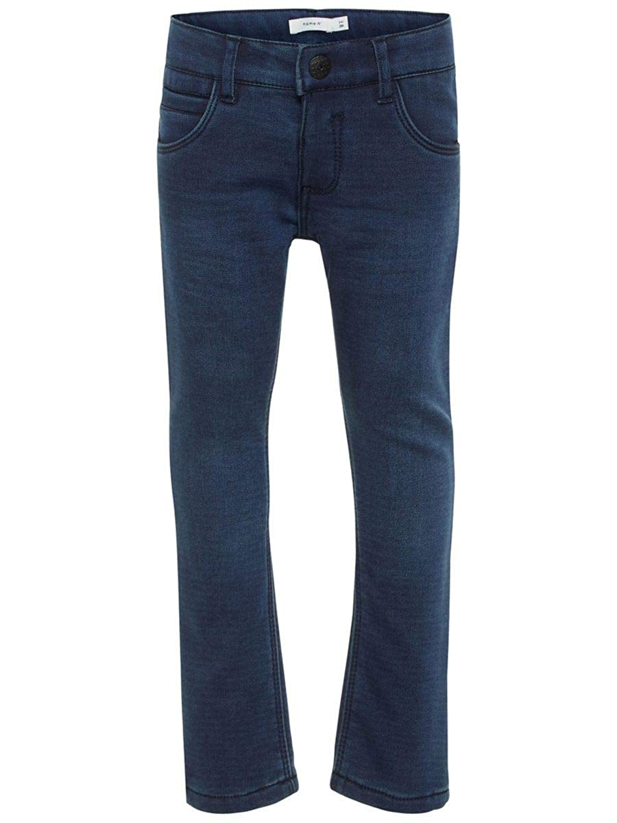 NAME IT Mini Mädchen Jeans, Thermo-Jeans Rose DNMBENTA in Dark Blue Denim (Passform Regular fit)