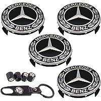 9PCS 75mm Car Wheel Center Hub Caps for Mercedes Benz, 4PCS Car Tire Valve Air Caps+1PC Key Chain + 4 Valve Caps Fit for…