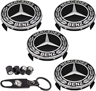 4 x Black Tyre Valve Dust Caps For Mercedes Benz With Key Ring Chain AMG MB C E