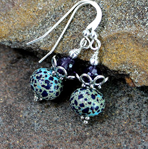Turquoise & Purple Art Glass Earrings with Amethyst, Sterling Silver