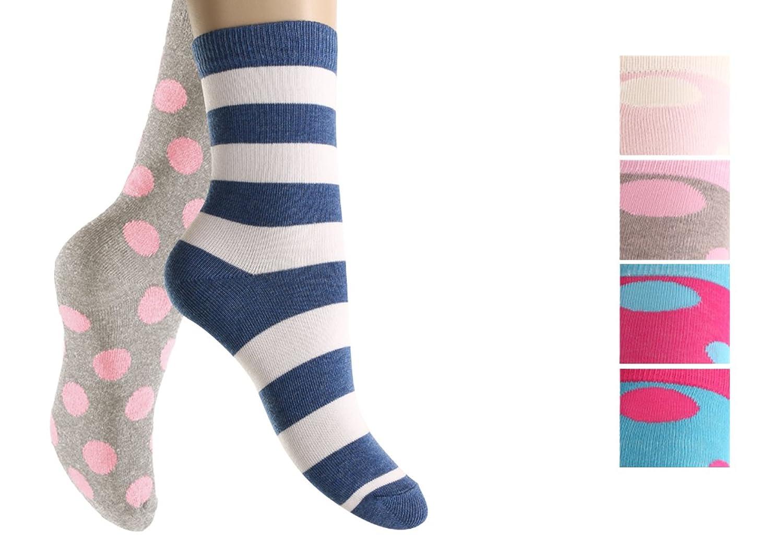 4er Pack Kinder-Socken für Mädchen + Knaben mit Punkten oder Ringeln Gr. 19/22 bis 31/34