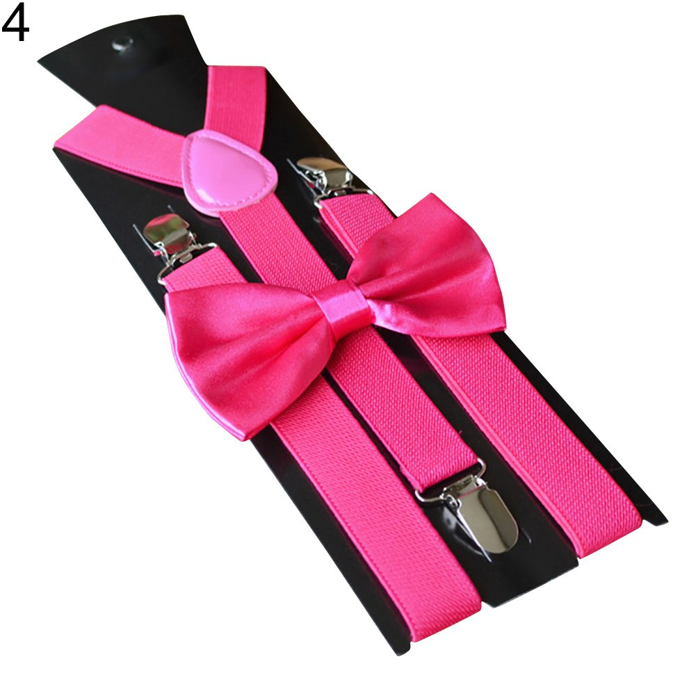 yanbirdfx Solid Color Kids Adult Clip-on Elastic Y-Shape Adjustable Suspenders Bowtie Set - Rose Red