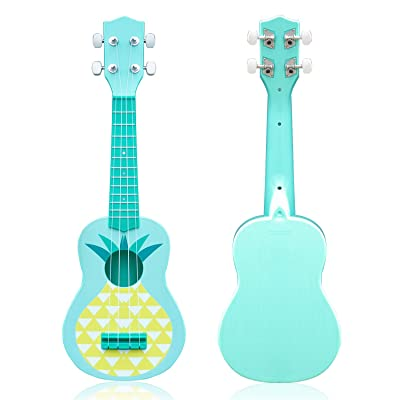 "21"" Kids Guitar Ukulele Toy Simulation 4 Strings Children Musical Instruments Educational Learning with Picks Primary Tutorial for Toddler Beginner Keep Tone (Pineapple): Toys & Games"