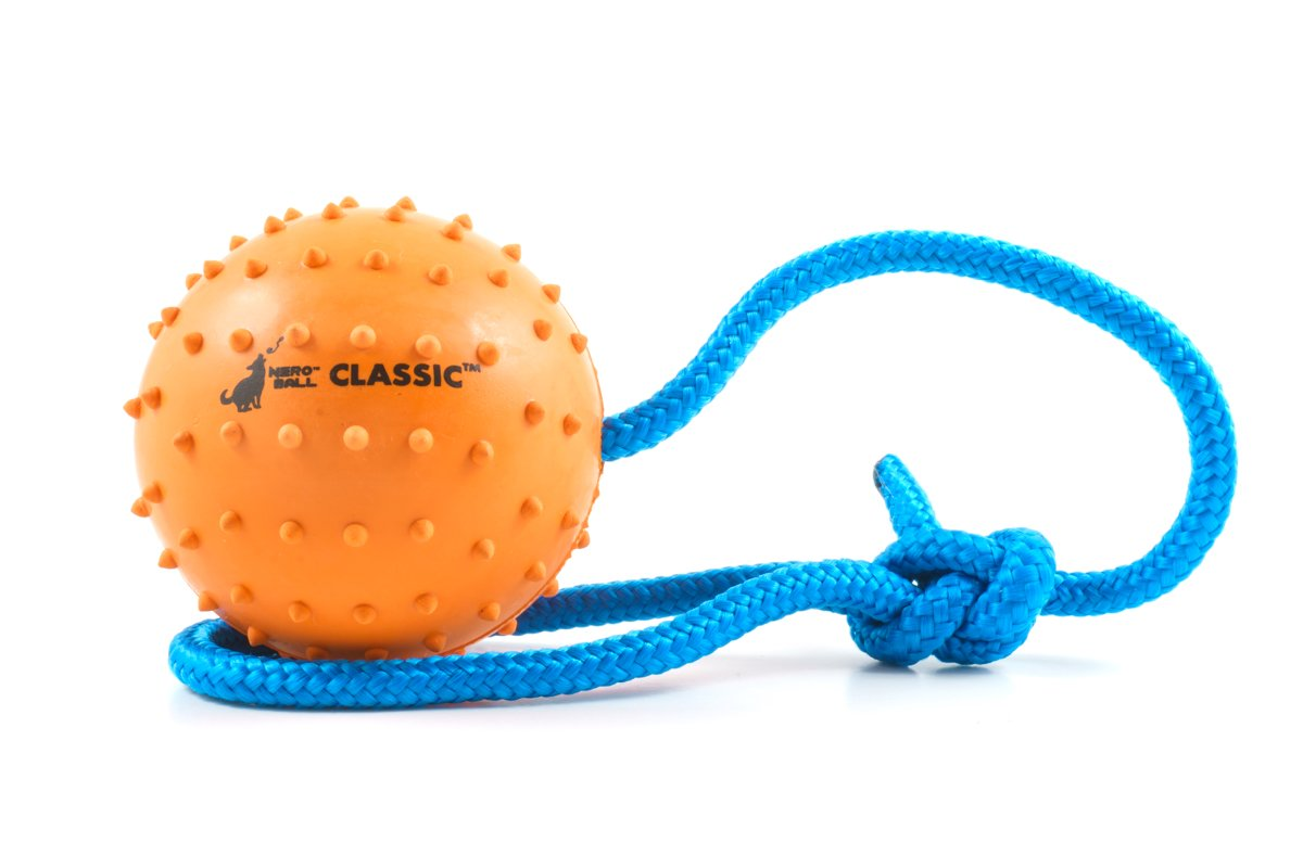 The Nero Ball Classic TM - K-9 Ball On a Rope Reward and Exercise Toy - Police K-9 - Schutzhund - Natural Rubber (2.75'')
