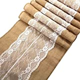 CCTRO Lace Hessian Table Runner, Rustic Natural Jute Country Outdoor Wedding Party Vintage Ivory Burlap Table Cloths Decoration 12x108 (2 Pack C)