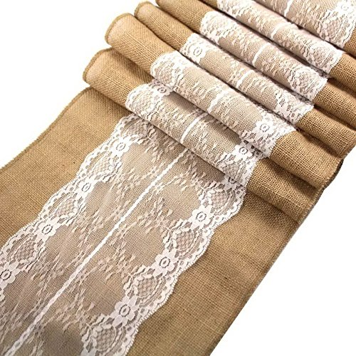 CCTRO Burlap Lace Hessian Table Runner, Rustic Natural Jute Country Wedding Party Bridal Shower Babe Shower Dining Table Decoration 12x108