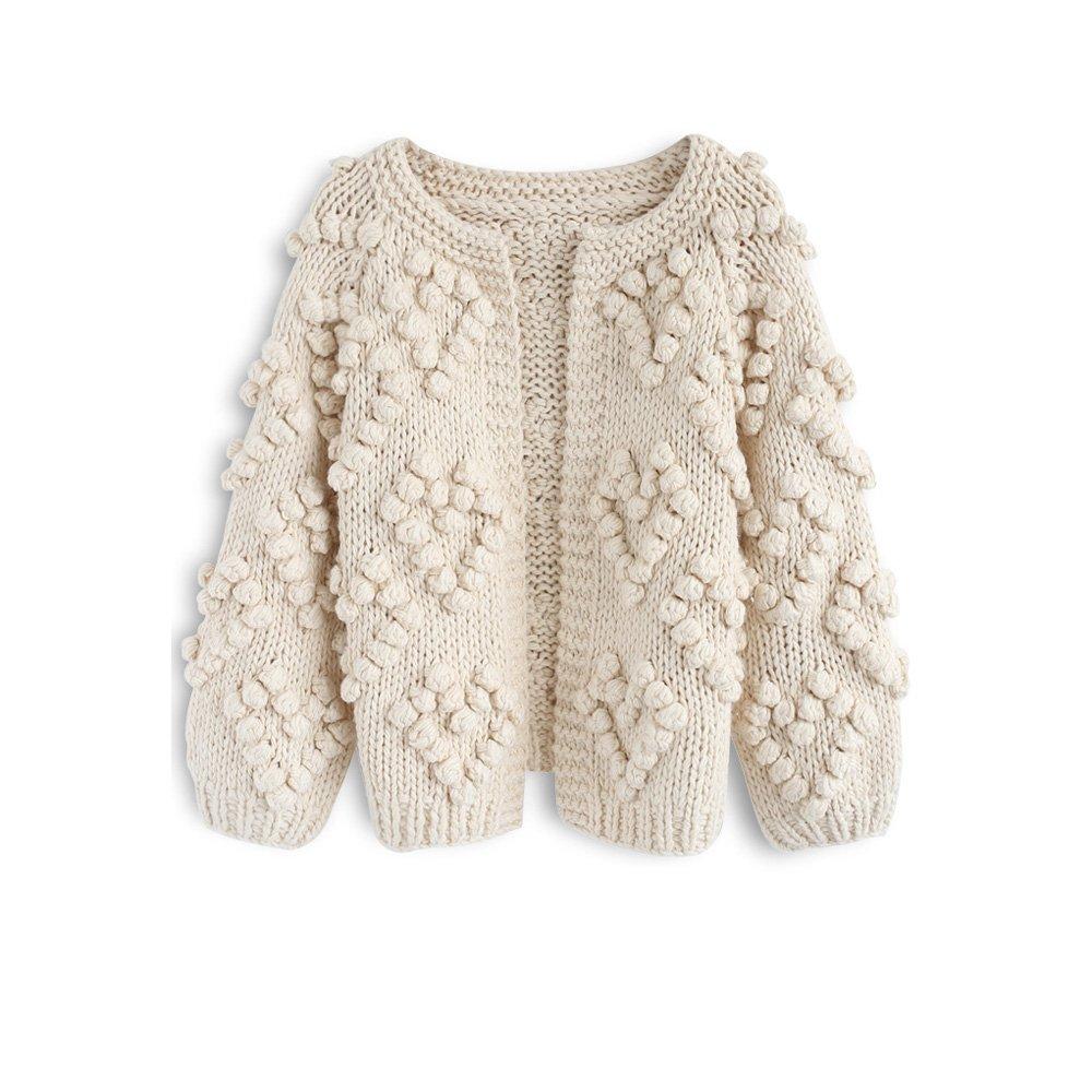 Chicwish Women's Soft Heart Shape Balls Hand Knit Open Front Ivory Cardigan by Chicwish