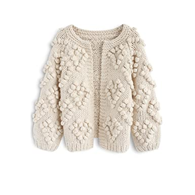 ab83172f Chicwish Women's Soft Heart Shape Balls Hand Knit Open Front Ivory Cardigan