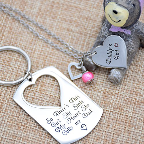ORIYA-Gifts-for-Dad-Necklace-Jewelry-Fathers-Day-Gift-Father-Daughter-Keychain-Jewelry-Daddys-Girl-Birthday-Necklace-Set-Theres-This-Girl-Who-Stole-My-Heart-She-Calls-Me-Daddy
