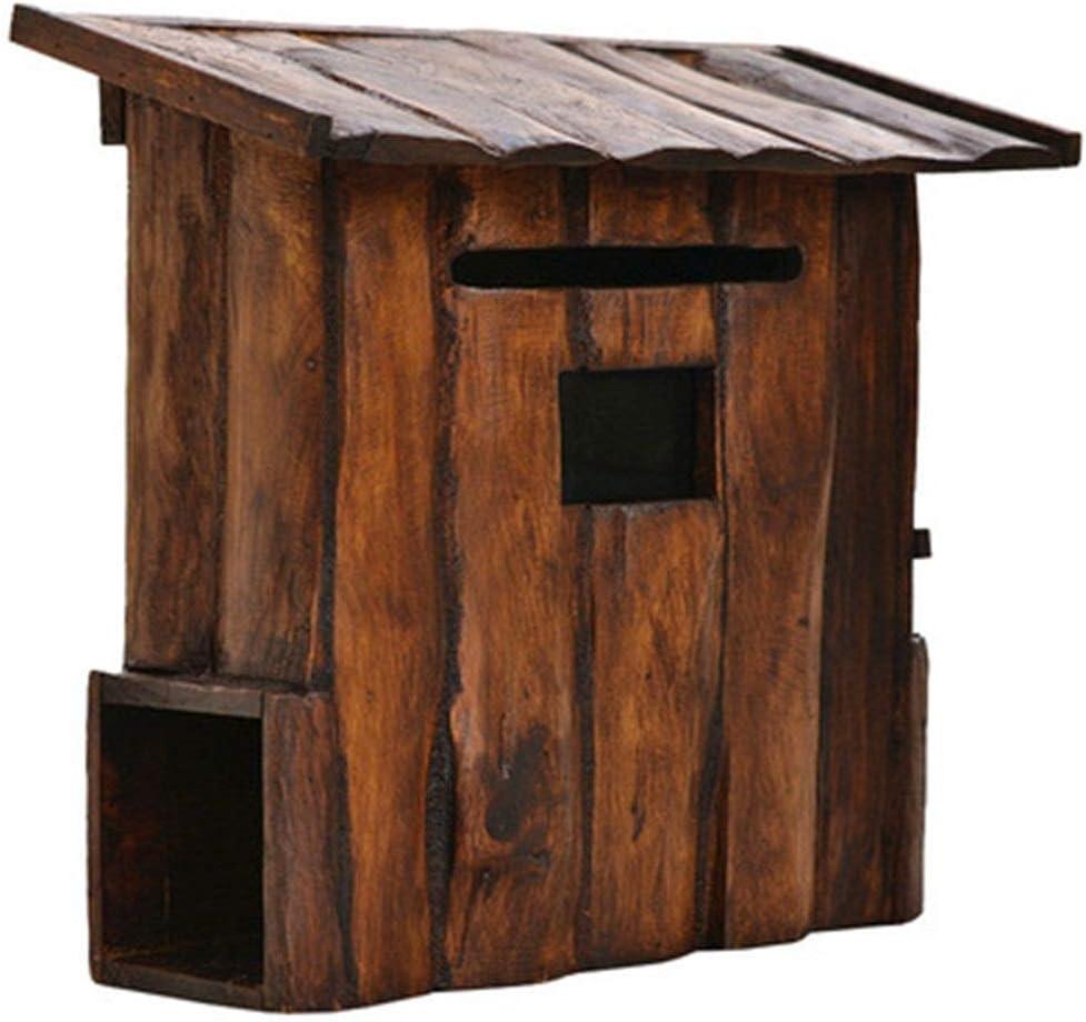 郵便受け メールボックス レターボックスの家庭やオフィスの外で垂直壁マウント装飾屋外クラシックな木製モダン・ハウスレトロなメールボックス (Color : Wood, Size : Free size)