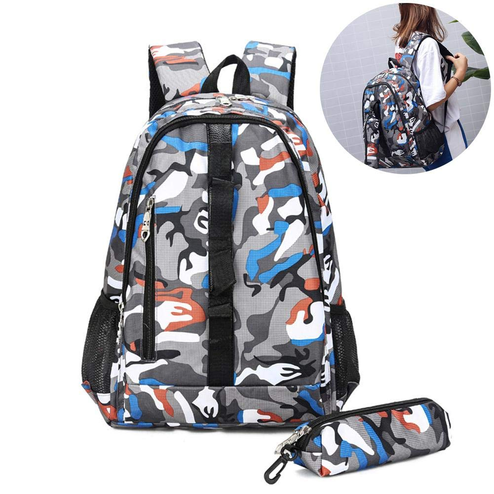 Sue Supply Hiking Exercise Backpack Camouflage Bag Backpack for Girls Travel Mountaineering Backpack Choice of Color(1 Camouflage Backpack 1 Storage Bag)