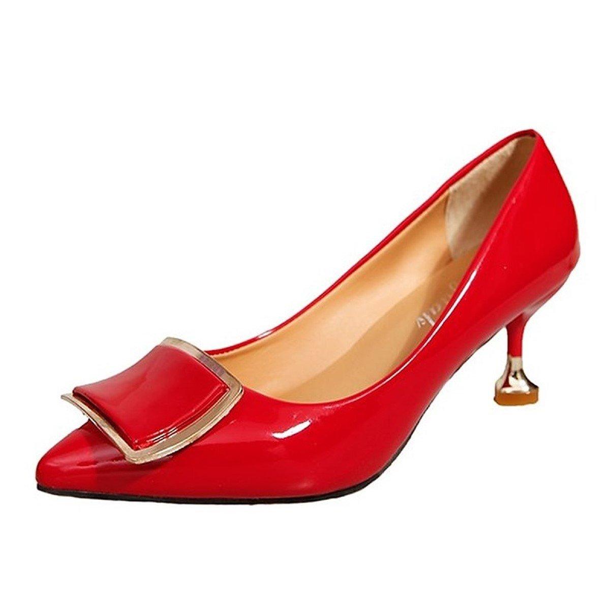 DIMAOL Damenschuhe PU Feder Fallen Komfort Heels Kitten Heel Schuhe Schuhe Heel für Casual Rot Beige Schwarz Rot 7df199