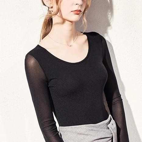 DFDONG Camisa de Malla de Fondo otoño Nueva Camiseta de Manga Larga Camisa de Mujer Negra@XXL: Amazon.es: Deportes y aire libre