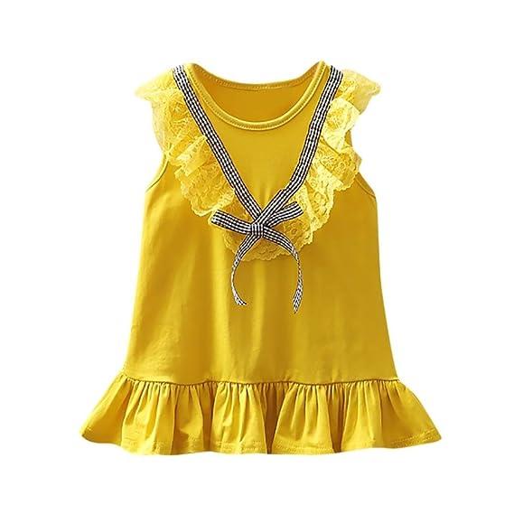 DRESS_start Vestido Para Bebé NiñAs Vestido De Cuadros Encaje Sin Mangas Vestido Bowknot Con Volantes Barato