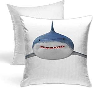 Hold Pillow Stylish Decorative Simple Geometric Pattern, Sofa, Home, Car 18x18inches The Great White Shark Carcharodon Carcharias is World Largest Known Extant Predatory Fish Animals