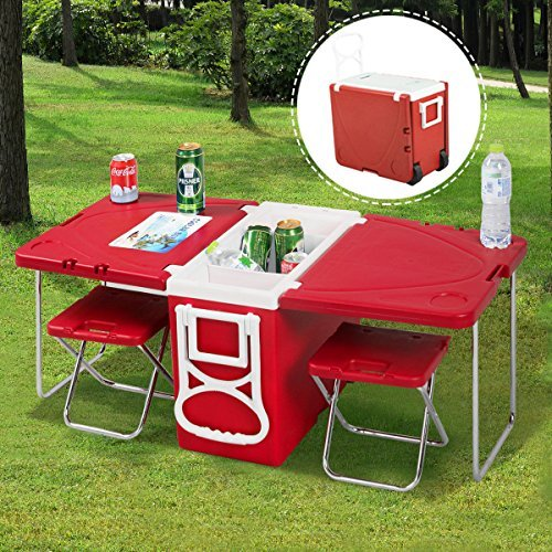 (Chonlakrit New Multi Function Rolling Cooler Picnic Camping Outdoor w/ Table & 2 Chairs Red)
