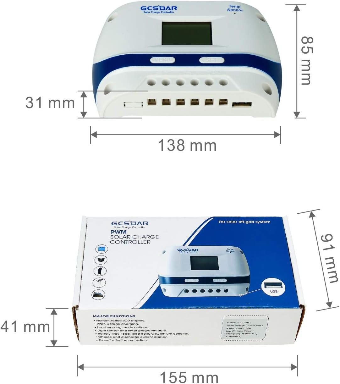 GCSOAR Solar Charge Controller 60A 12V 24V Auto Work PWM Solar Panel Charger Regulator Parameter Adjustable LCD Display Work for Leaded,Gel ,Flooded Type GCLT-4860 AGM