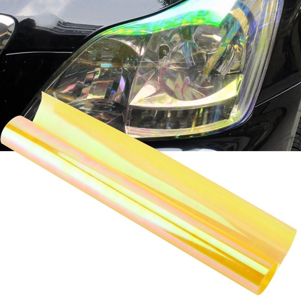 Car Headlight Sticker Self Adhesive Shiny Chameleon Headlights Tail Lights Fog Lights Films,Film Sheet Sticker,Tint Vinyl Film 30 * 100CM-Pink