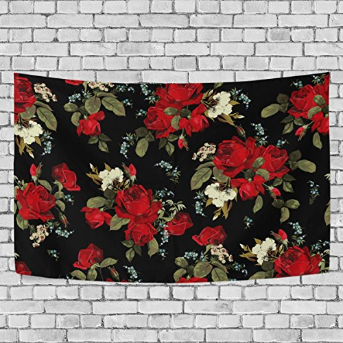 ALAZA Tapestry, Red Roses Floral Pattern Black Tapestry Wall Hanging Carpet Tapestries Personalized Style Home Decoration for Living Room Bedroom Dorm Room 60x40 inches