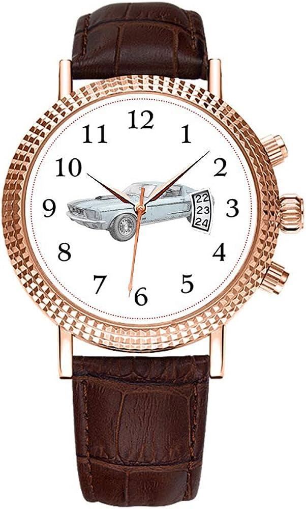 Men Watch Luxury Business Men Watch Fashion Roman Waterproof Men's Watch Leather Calendar Clock Christmas Watch Ford Mustang GT 1967 Wristwatches