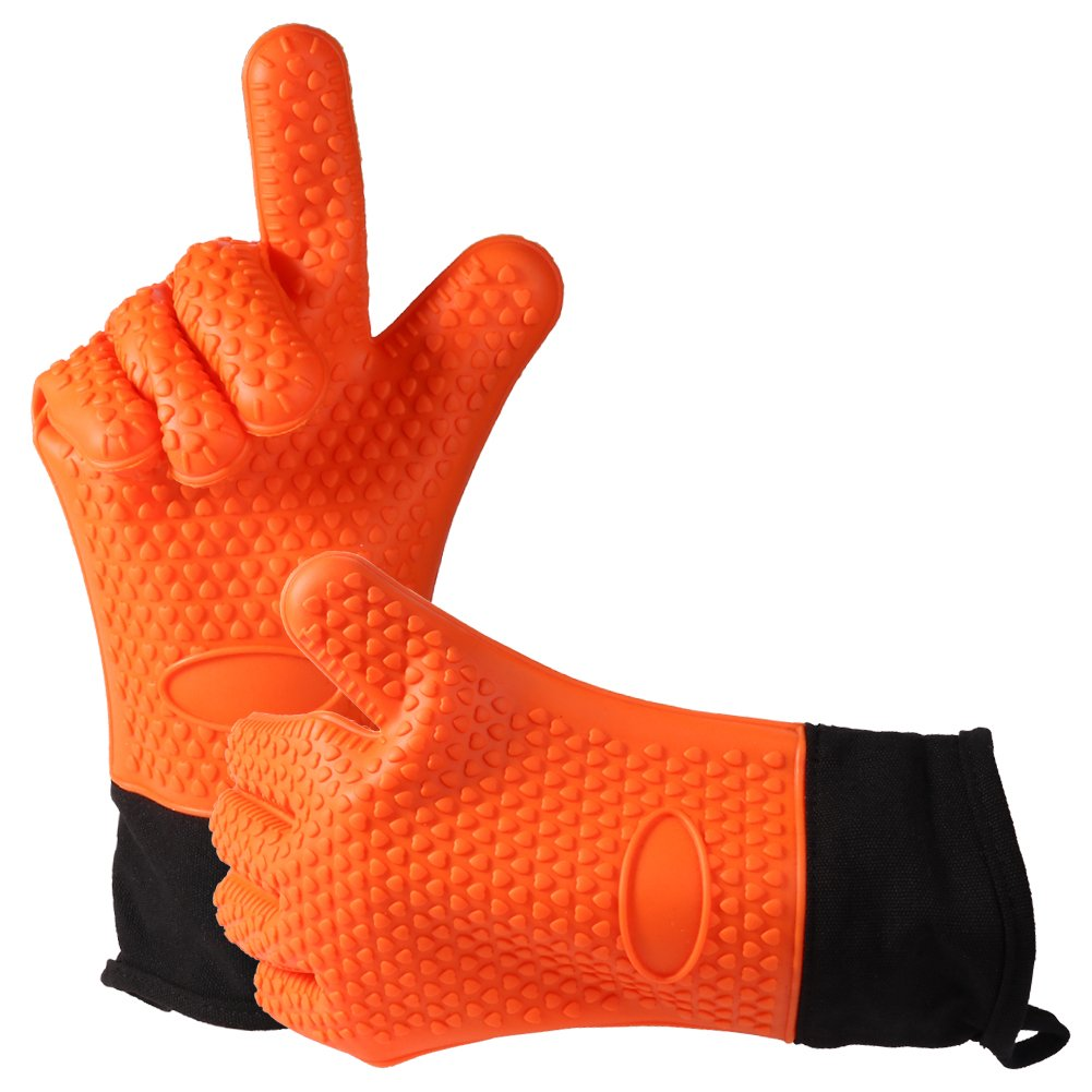 Easy Clean Silicone BBQ Cooking Gloves Set,Smoker Premium Long Rubber BBQ Oven Gloves Heat Resistant Kitchen grilling Gloves Long Waterproof Non-slip Potholder For Barbecue,Baking (Orange)