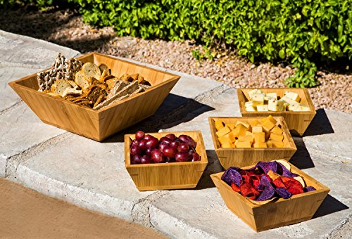 Eco-friendly Modern Square Bamboo Wood 5 Piece Entertaining Serving Bowl Set for Salads, Grapes, Cheese & Crackers, Nuts, Chips & Rolls. This Set Enhances & Beautifies a Table. By Zen Dot Grape Salad Set