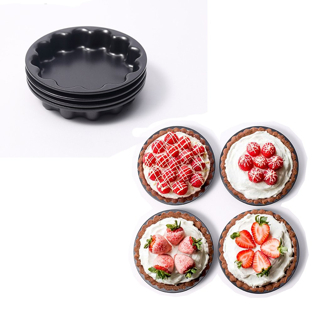 MZCH 4PCS 5.6-Inch Mini Pie Pans,Mini Flower Pie Tins,Non-Stick Tart Molds,Black