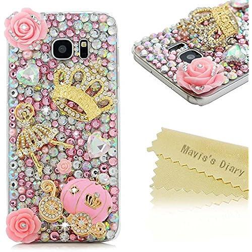 Galaxy S7 Edge Case - Mavis's Diary Luxury 3D Handmade Bling Crystal Cute Pumpkin Carriage Golden Crown Dancing Sales