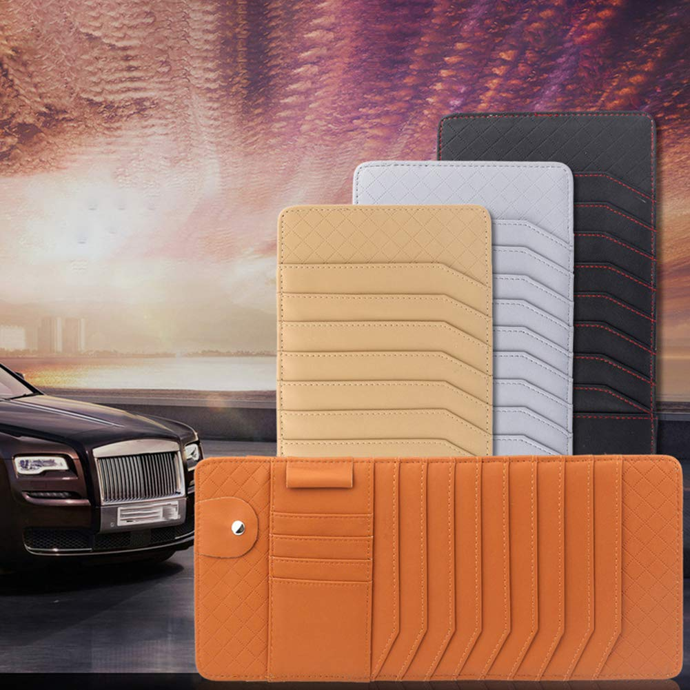 MJuan-Clothing Interior Storage,Faux Leather Auto Car Sun Visor CD Organizer Cards Pocket Pen Glasses Holder Bag Brown